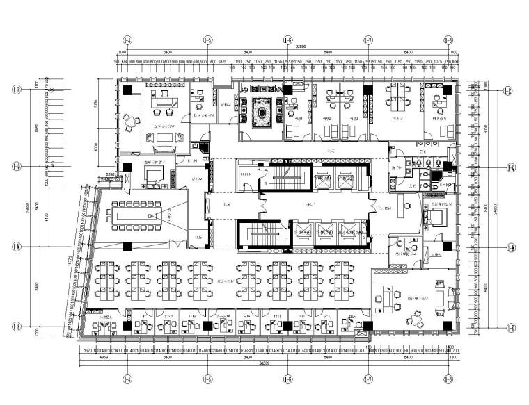 现代--办公空间装修设计施工图+效果图