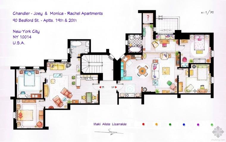 从《老友记》到《生活大爆炸》:13个知名电视剧集中的室内平面图