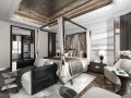 素白 中式风酒店客房设计3D模型(附效果图)