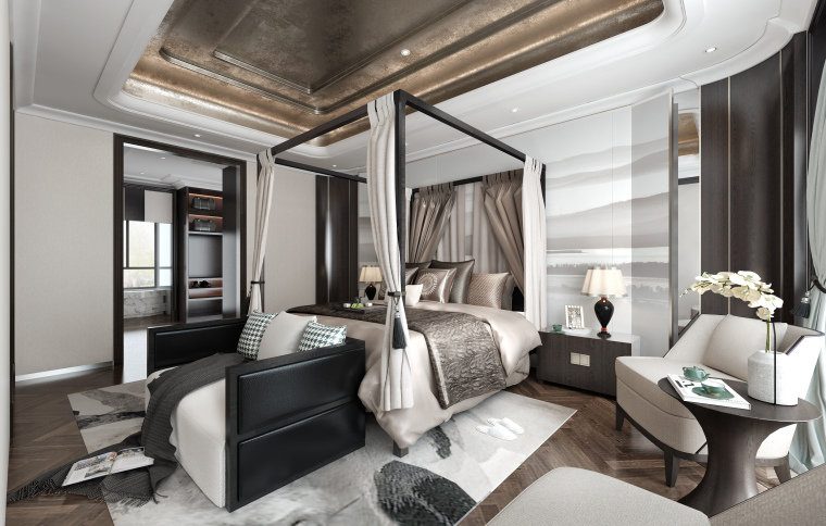 素白|中式风酒店客房设计3D模型(附效果图)
