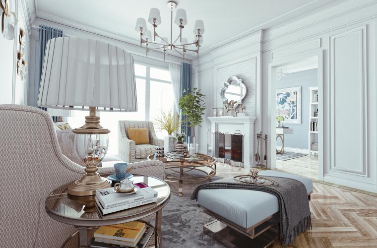 慢生活,纯白之家|欧式清新风客厅设计3D模型(附效果图)