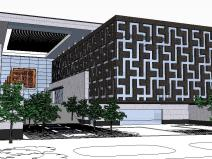 精现代风格图书馆sbf123胜博发娱乐模型设计