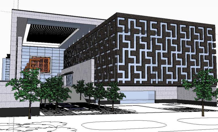 精现代风格图书馆建筑模型设计