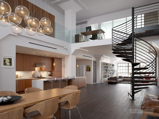 大气现代简约别墅客餐厅3d模型下载