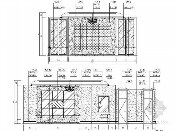 [深圳]城市中心区奢华典雅酒店设计CAD施工图(含效果)豪华包房立面图