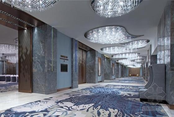 [浙江]全球国际化金融中心高档现代风格综合性酒店装修施工图(含效果)电梯间效果图