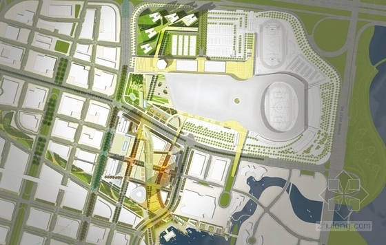 [深圳]沿海新区超高层城市中心总体规划设计方案文本-沿海新区超高层城市中心总平面图