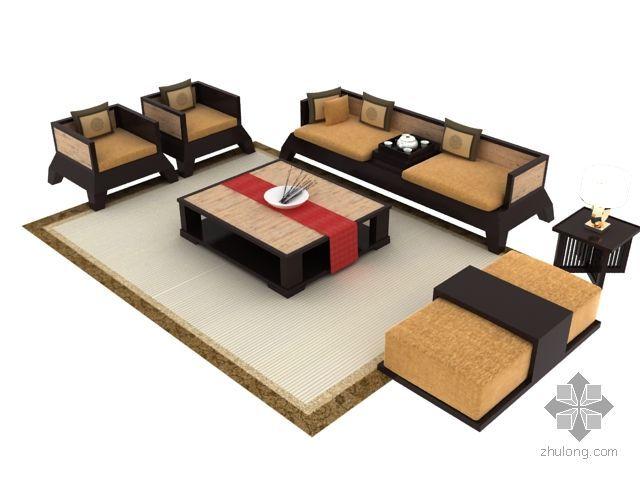 简约中式沙发茶几组合