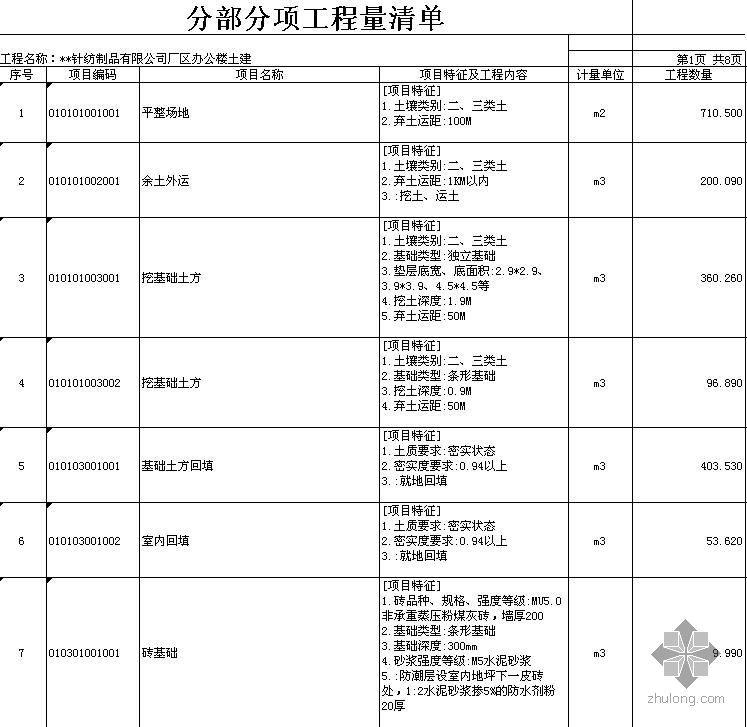安徽某3层框架结构厂区办公楼土建工程量清单