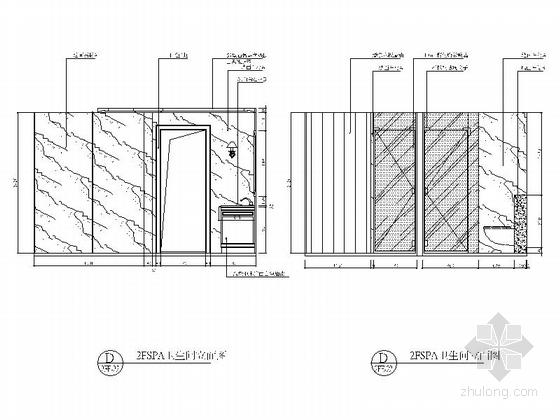 [重庆]高档豪华欧式风格酒店式别墅室内装修施工图(含效果图)二层立面图
