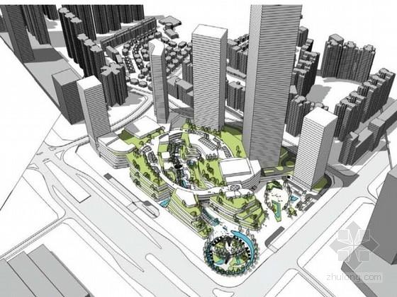 [广东]围合式现代风格国际商业广场概念性设计方案文本