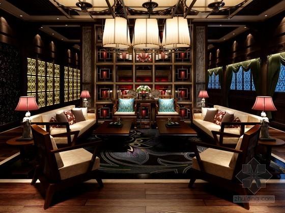 豪华会所中式风格餐厅包厢交谈区3d模型下载