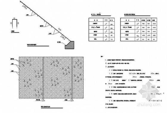 公路隧道工程洞口仰坡面三维植被网防护节点详图设计