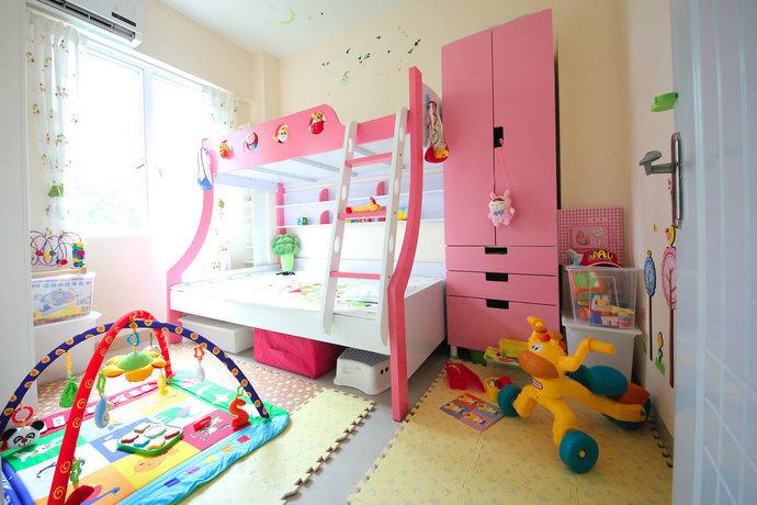 现代简约儿童房背景墙衣柜装修效果图