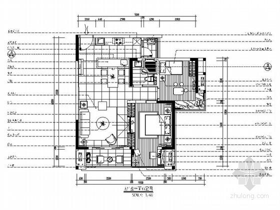 [重庆]园林城区现代简约两居室CAD装修图(含效果)