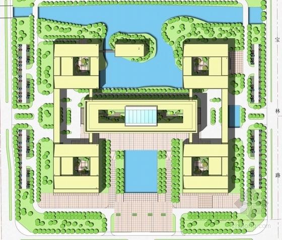 CBD地块院落式行政办公楼建筑总平面图
