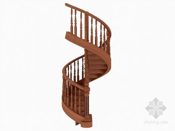 木质旋转楼梯3D模型下载