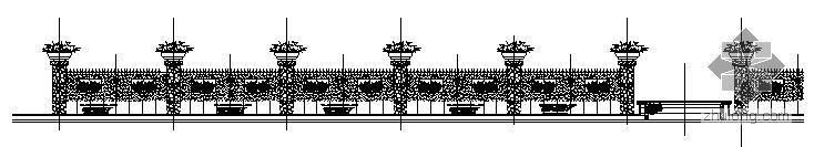 小区入口流水景墙和花钵施工详图