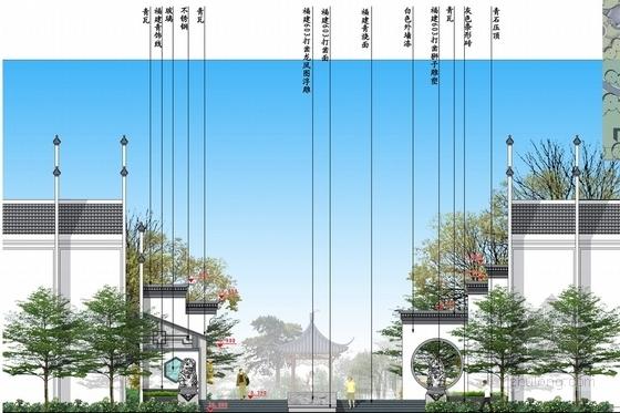 [北京]诗情画意山水住宅商业深化设计方案(图纸精美)-入口立面图