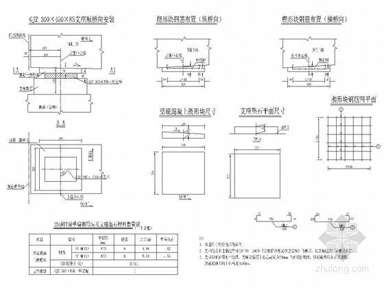 装配式预应力混凝土T梁桥支座构造图