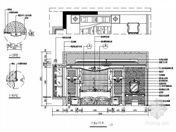 [深圳]195平经典豪华欧式五居室样板间装修设计施工图主卧立面图