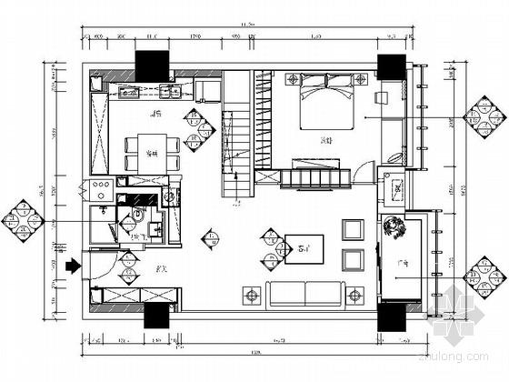 [福建]精品美式风格两层别墅样板房室内装修施工图(含水电)