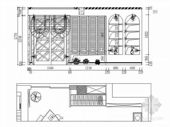 名师设计田园风情复式样板间装修施工图(含效果)男孩房立面图