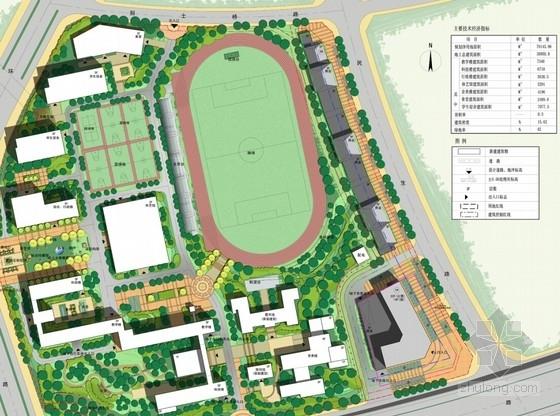 现代风格中学校区规划总平面图