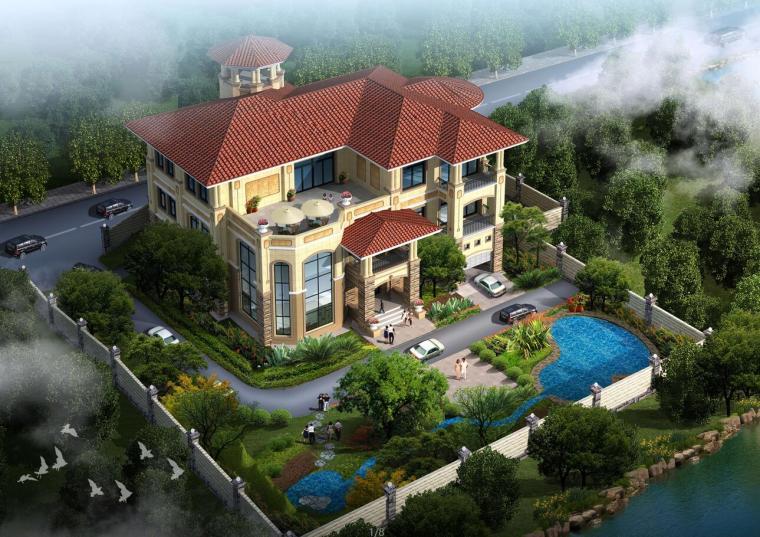 三层豪华别墅建筑设计方案(包含效果图+CAD)