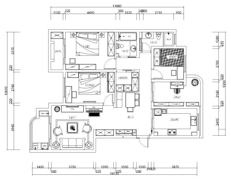 欧式田园风格四居室全套施工图设计(附效果图)