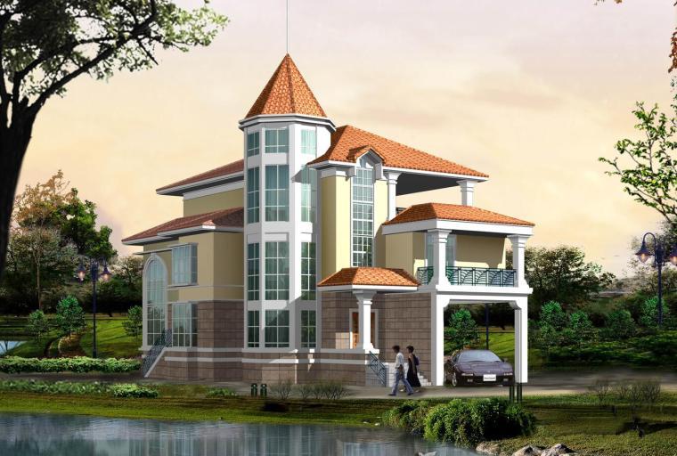 欧式风格别墅建筑设计(效果图+CAD图)