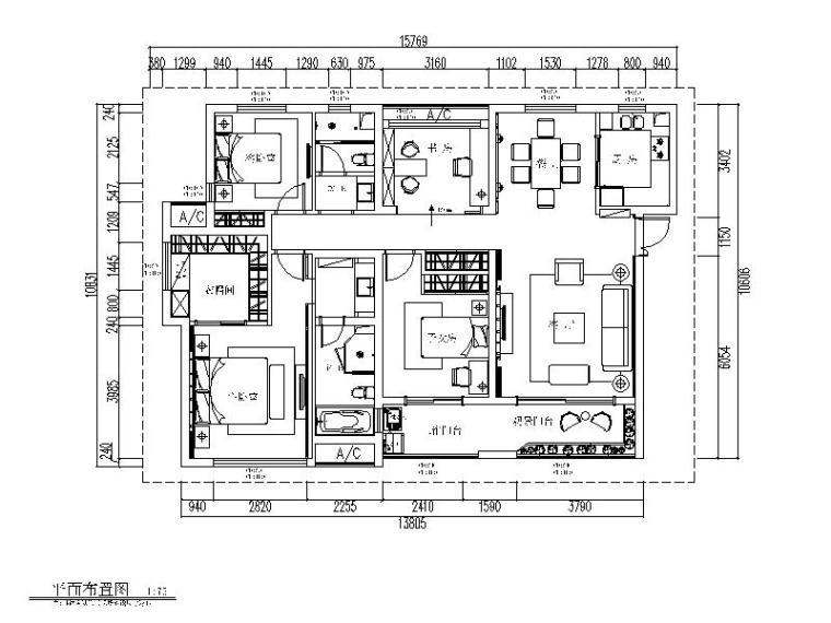 中式风格样板房设计全套CAD施工图(含效果图)