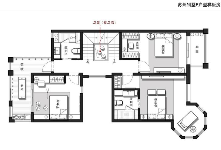江苏别墅F户型样板房(现代中式)室内设计实景图(含23张)