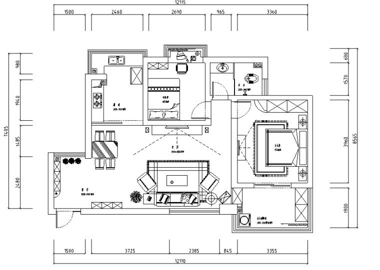 黑白混搭三室二厅装修图(效果图)