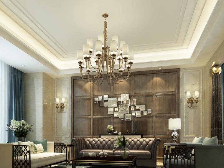 欧式宽敞客厅3D模型下载