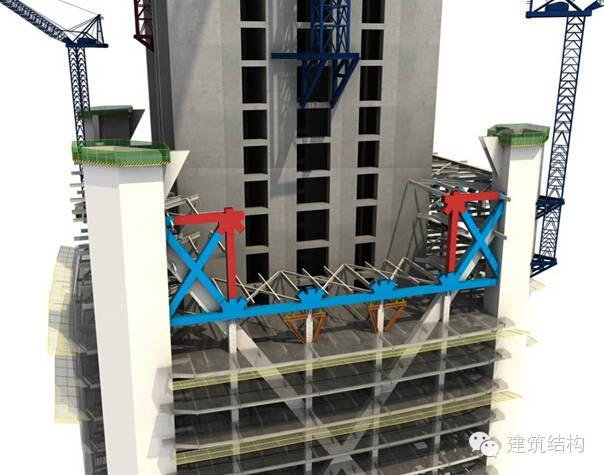 建筑结构丨超高层建筑钢结构施工流程三维效果图_4