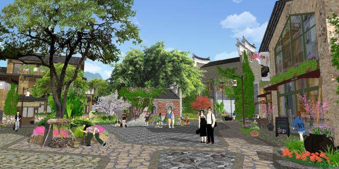 [方案][广西]滨水特色古镇石板小巷历史文化街区景观规划设计方案图片