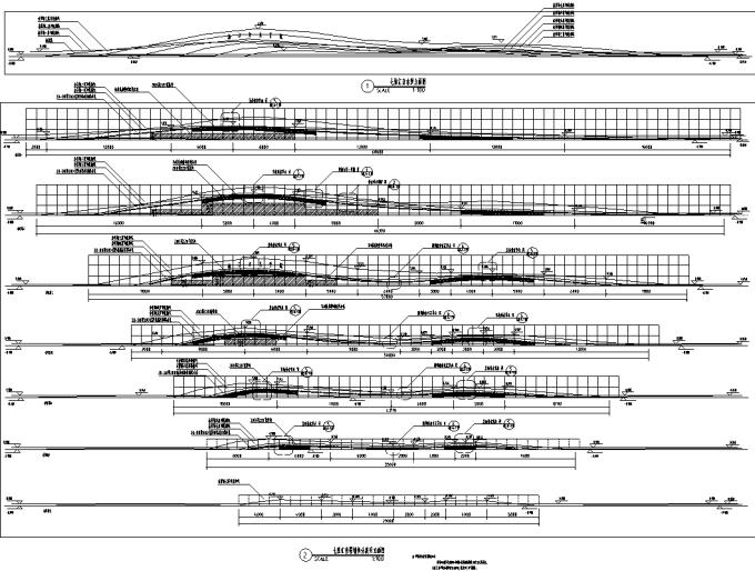 [浙江]流动地景自然生态大学校园景观规划设计全套图纸(方案+CAD施工图+PDF施工图+实景图)-七弦汇音景墙拆分立面图