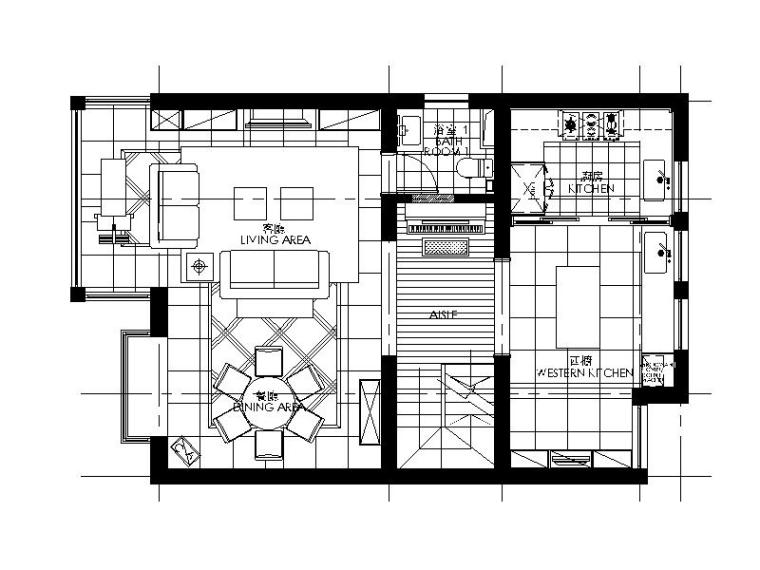 田园风格独栋别墅设计CAD施工图(含效果图)