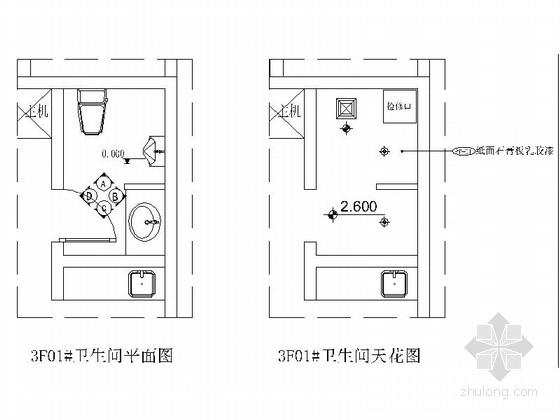 [福建]某豪华KTV卫生间室内装修施工图