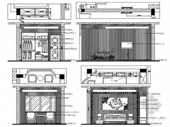 现代中式风格别墅主卧立面图