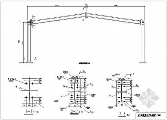 某21米单跨双坡门式刚架厂房结构设计图(含计算书)