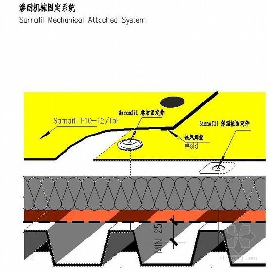 暴露式屋面防水做法详图(渗耐机械固定系统)