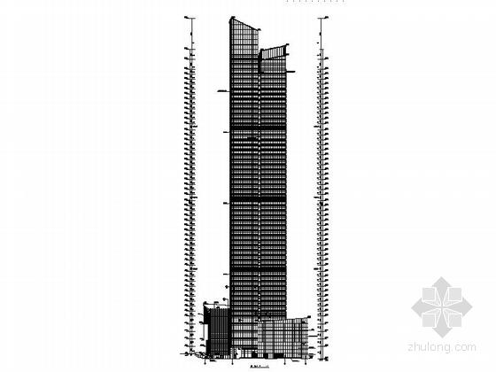 [深圳]56层玻璃幕墙办公大厦建筑设计施工图(含效果图知名设计院)-56层玻璃幕墙办公大厦建筑立面图