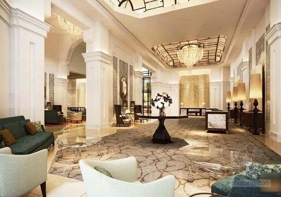 [青岛]连锁旅馆品牌高档五星级商务酒店设计方案大厅接待效果图