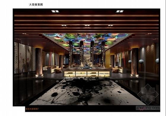 [上海]中心商业圈四星级现代风格酒店室内设计概念方案大堂效果图