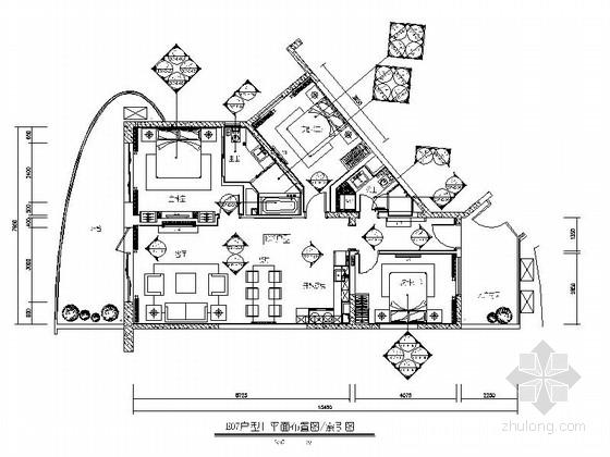 [海南]度假中心新中式三居室样板房装修图(含效果及手绘图)