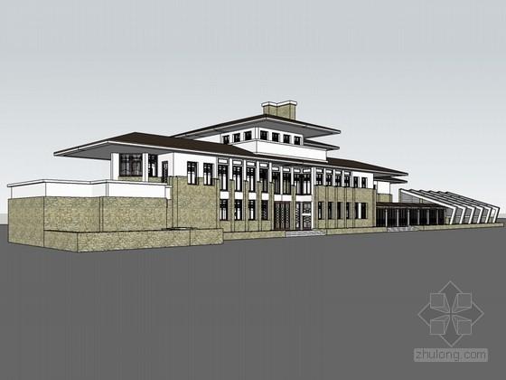 美式建筑SketchUp模型下载