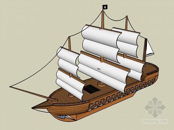 古代帆船SketchUp模型下载