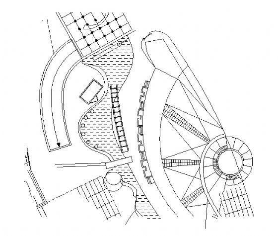 瀑布平面图及给水管系统图